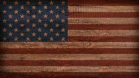 Bandiera dell'America dipinta su vecchio legno Immagini Stock