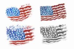 Bandiera dell'America, disegnata a mano, pittura dell'acquerello illustrazione vettoriale