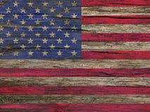 Bandiera dell'America su un vecchio legno Fotografia Stock