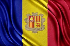 Bandiera dell'Andorra Bandiera con una struttura di seta lucida Fotografia Stock