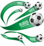 Bandiera dell'Arabia Saudita messa con pallone da calcio illustrazione di stock