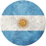 Bandiera dell'Argentina di lerciume Bandiera del bottone dell'Argentina isolata sulla b bianca Fotografie Stock