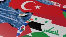 Bandiera dell'Armenia sulla mappa 3d stock footage