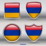 Bandiera dell'Armenia in una raccolta di 4 forme con il percorso di ritaglio Fotografia Stock Libera da Diritti