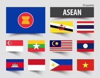 Bandiera dell'associazione di ASEAN delle nazioni e dell'appartenenza asiatiche sudorientali royalty illustrazione gratis