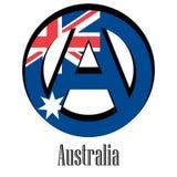 Bandiera dell'Australia del mondo sotto forma di segno dell'anarchia illustrazione di stock
