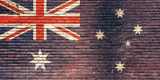 Bandiera dell'Australia dipinta su un muro di mattoni illustrazione 3D Fotografia Stock