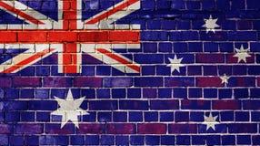 Bandiera dell'Australia su un muro di mattoni Immagini Stock