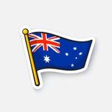 Bandiera dell'autoadesivo dell'Australia sull'albero per bandiera Fotografia Stock
