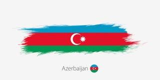 Bandiera dell'Azerbaigian, colpo della spazzola dell'estratto di lerciume su fondo grigio illustrazione di stock