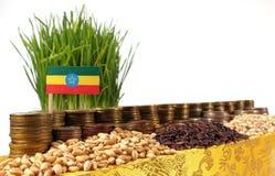 Bandiera dell'Etiopia che ondeggia con la pila di monete dei soldi ed i mucchi di grano Fotografia Stock Libera da Diritti