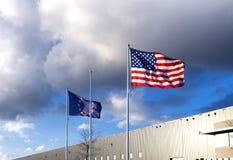 Bandiera dell'Eu e dell'americano Fotografia Stock Libera da Diritti