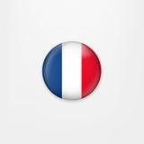 Bandiera dell'icona, del distintivo o del bottone rotondo della Francia Simbolo nazionale francese Illustrazione di vettore Fotografie Stock