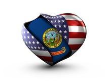 Bandiera dell'Idaho dello stato di U.S.A. su fondo bianco Fotografia Stock