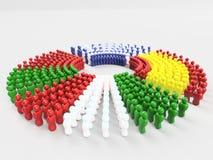 bandiera dell'illustrazione 3D parte anteriore dei paesi dei MAIALI, Italia Immagine Stock