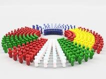 bandiera dell'illustrazione 3D parte anteriore dei paesi dei MAIALI, Italia Immagine Stock Libera da Diritti