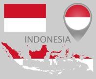 Bandiera dell'Indonesia, mappa e puntatore della mappa illustrazione vettoriale