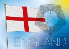 Bandiera dell'Inghilterra con il simbolo rosa di tudor Fotografia Stock Libera da Diritti