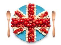 Bandiera dell'Inghilterra unita fatta del pomodoro e dell'insalata Fotografia Stock Libera da Diritti