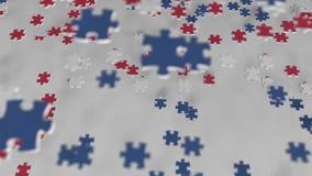 Bandiera dell'Islanda che è fatta con i pezzi del puzzle Animazione concettuale 3D della soluzione islandese di problema stock footage