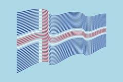 Bandiera dell'Islanda su fondo blu Bande bandiera, linea di Wave Immagini Stock