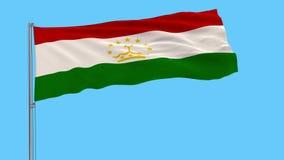 Bandiera dell'isolato del Tagikistan su un'asta della bandiera che fluttua, metraggio dei prores 4k, alfa trasparenza illustrazione di stock