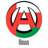 Bandiera dell'Oman del mondo sotto forma di segno dell'anarchia illustrazione vettoriale