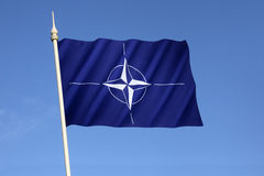Bandiera dell'organizzazione del trattato del nord Atlantico - NATO Immagine Stock