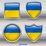 Bandiera dell'Ucraina in una raccolta di 4 forme con il percorso di ritaglio Fotografia Stock Libera da Diritti