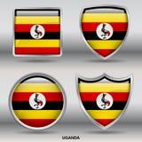 Bandiera dell'Uganda in una raccolta di 4 forme con il percorso di ritaglio Fotografia Stock