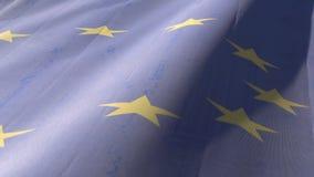 Bandiera dell'Unione Europea che ondeggia sul vento archivi video