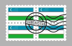 Bandiera dell'Uzbekistan sui francobolli Fotografia Stock Libera da Diritti