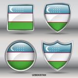 Bandiera dell'Uzbekistan in una raccolta di 4 forme con il percorso di ritaglio Immagini Stock