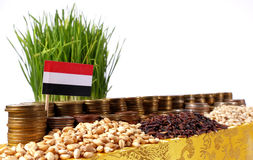 Bandiera dell'Yemen che ondeggia con la pila di monete dei soldi ed i mucchi di grano Immagine Stock Libera da Diritti