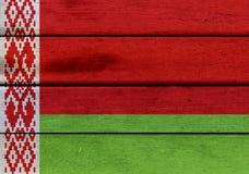 Bandiera della Bielorussia su un legno Immagini Stock