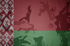 bandiera della Bielorussia sulla struttura cachi Concetto militare Immagine Stock Libera da Diritti
