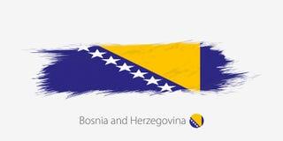 Bandiera della Bosnia-Erzegovina, colpo della spazzola dell'estratto di lerciume su fondo grigio illustrazione vettoriale