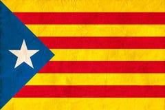 Bandiera della Catalogna di indipendenza sul fondo di carta di struttura Fotografia Stock