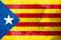 Bandiera della Catalogna di indipendenza sul fondo di pietra di struttura Fotografie Stock