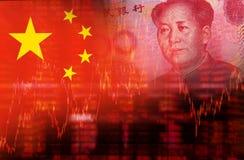 Bandiera della Cina con il fronte di Mao Zedong Fotografia Stock Libera da Diritti