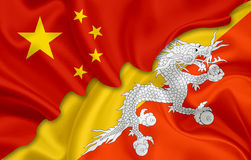 Bandiera della Cina e bandiera del Bhutan royalty illustrazione gratis
