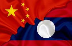 Bandiera della Cina e bandiera del Laos illustrazione di stock