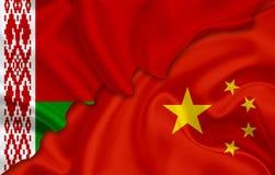 Bandiera della Cina e bandiera della Bielorussia illustrazione di stock
