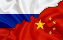 Bandiera della Cina e bandiera della Russia illustrazione vettoriale