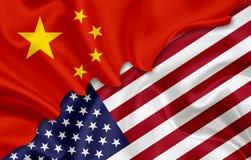 Bandiera della Cina e bandiera di U.S.A. illustrazione di stock