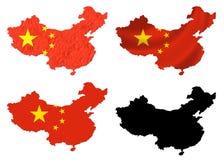 Bandiera della Cina sopra il collage della mappa Immagini Stock Libere da Diritti