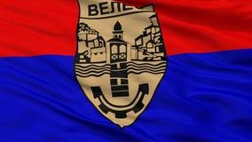 Bandiera della città del comune di Veles, Macedonia, vista del primo piano immagine stock