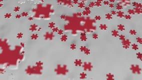 Bandiera della Corea del Nord che è fatta con i pezzi del puzzle Animazione concettuale 3D della soluzione di problema stock footage