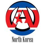 Bandiera della Corea del Nord del mondo sotto forma di segno dell'anarchia illustrazione di stock