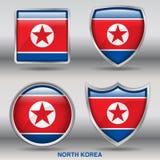 Bandiera della Corea del Nord in una raccolta di 4 forme con il percorso di ritaglio Fotografia Stock